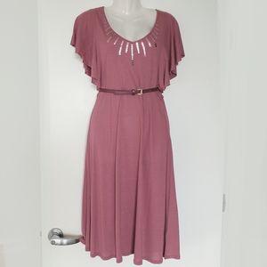 Flowy stretch shotr sleeve dress